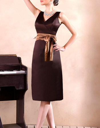 Discount V-Neck Knee Length Satin Bridesmaid Dresses with Sashes
