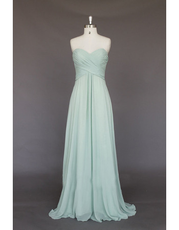 Elegant Sweetheart Sleeveless Floor Length Chiffon Bridesmaid Dresses