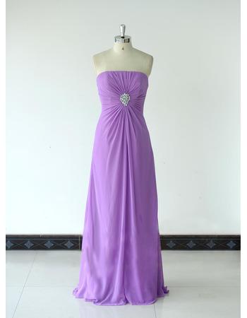 Vintage Strapless Floor Length Chiffon Bridesmaid/ Wedding Party Dress