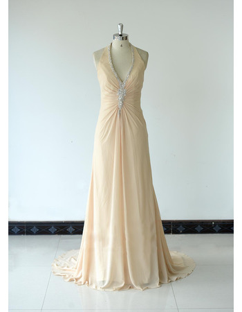 2018 Style Halter V-Neck Floor Length Chiffon Bridesmaid Dresses