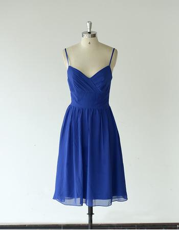 Custom Spaghetti Straps Sweetheart Knee Length Chiffon Bridesmaid Dress