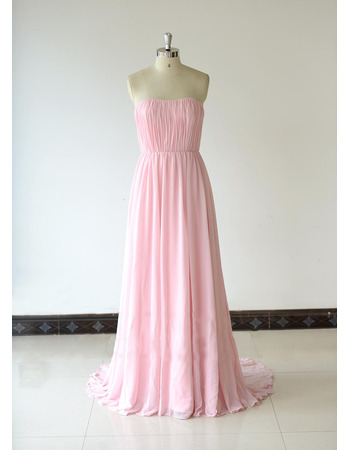 Discount Strapless Floor Length Chiffon Pleated Bridesmaid Dresses