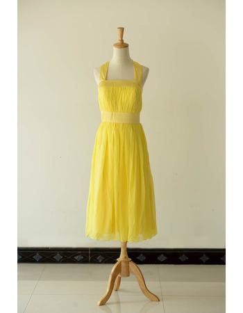 2018 New Halter Tea Length Chiffon Bridesmaid/ Wedding Party Dresses