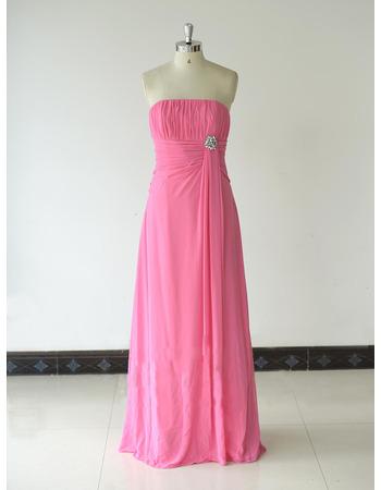 Custom Strapless Long Chiffon Bridesmaid/ Wedding Party Dresses