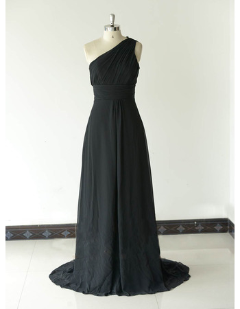 Inexpensive One Shoulder Long Chiffon Black Bridesmaid Dresses
