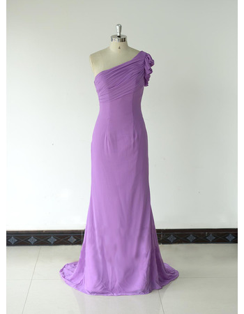 Custom Sheath One Shoulder Floor Length Chiffon Bridesmaid Dresses