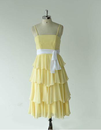 Spaghetti Straps Layered Skirt Chiffon Bridesmaid Dresses with Sashes
