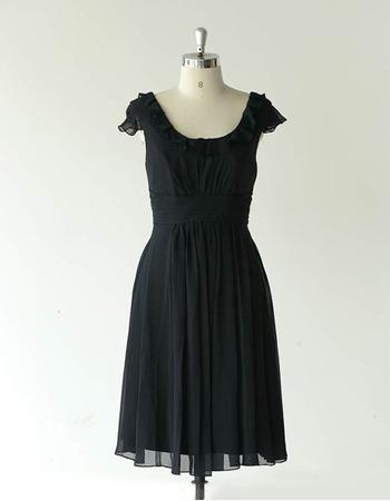 Affordable Cap Sleeves Knee Length Chiffon Black Bridesmaid Dresses