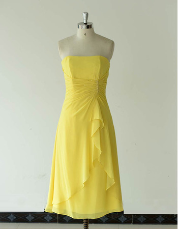 Vintage Strapless Tea Length Chiffon Bridesmaid/ Wedding Party Dresses