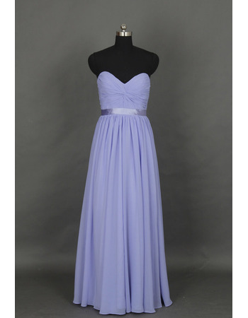 Discount Sweetheart Sleeveless Floor Length Chiffon Bridesmaid Dresses