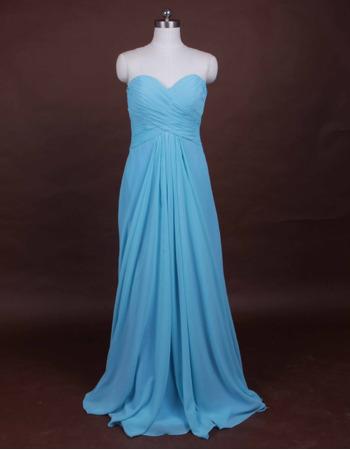 2018 Summer Sheath Sweetheart Floor Length Chiffon Bridesmaid Dresses