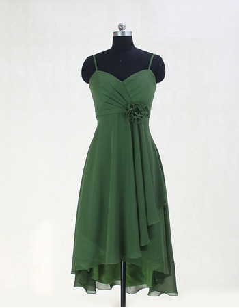Custom Spaghetti Straps Sweetheart High-Low Chiffon Bridesmaid Dresses