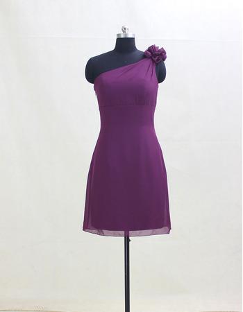 Inexpensive One Shoulder Mini/ Short Chiffon Bridesmaid Dresses