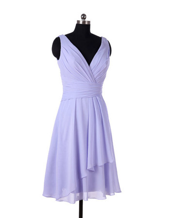 Vintage V-Neck Knee Length Chiffon Bridesmaid/ Wedding Party Dresses