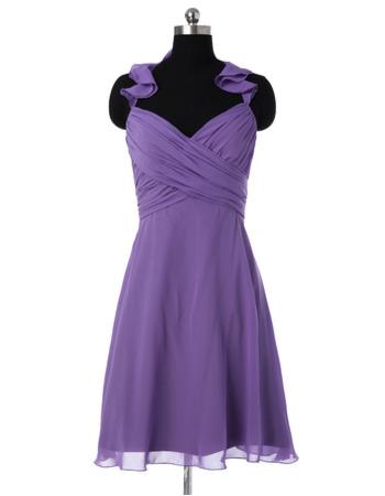 2018 Style Halter Sweetheart Mini/ Short Chiffon Bridesmaid Dresses