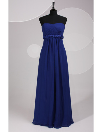 Custom Strapless Floor Length Chiffon Bridesmaid Dresses with Belts