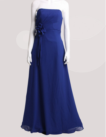 Affordable Strapless Floor Length Chiffon Floral Bridesmaid Dresses