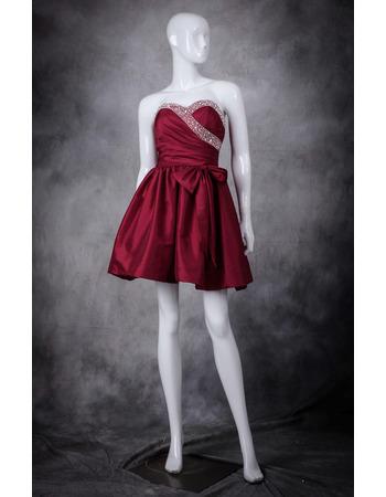 Sexy A-Line Sweetheart Sleeveless Short Taffeta Homecoming Dresses