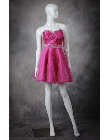 2018 A-Line Sweetheart Short Taffeta Organza Homecoming Dresses