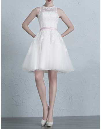2018 Summer A-Line Short/ Mini Organza Wedding Dresses with Belts ...