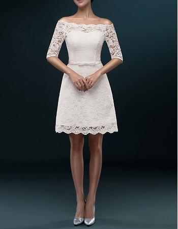 Informal Off-the-shoulder Short Lace Wedding Dresses with Half Sleeves