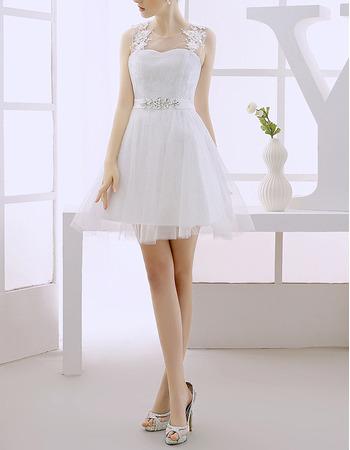 Custom A-Line Sleeveless Short/ Mini Tulle Satin Wedding Dresses