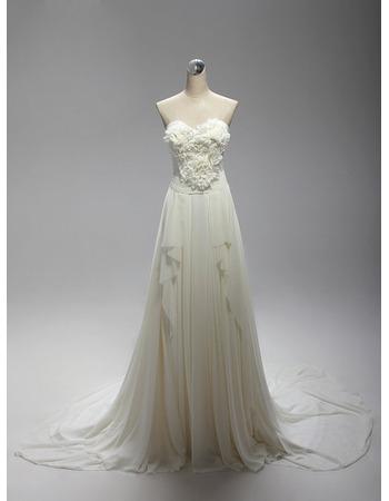 Custom Sweetheart Sweep Train Chiffon Wedding Dresses with Ruffles