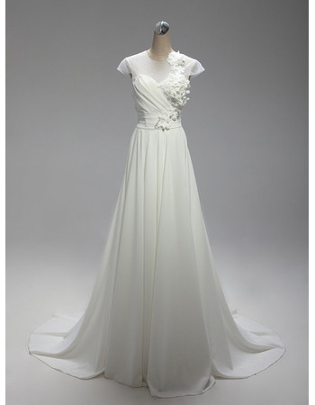 Inexpensive A-Line Long Chiffon Wedding Dresses with Short Sleeves