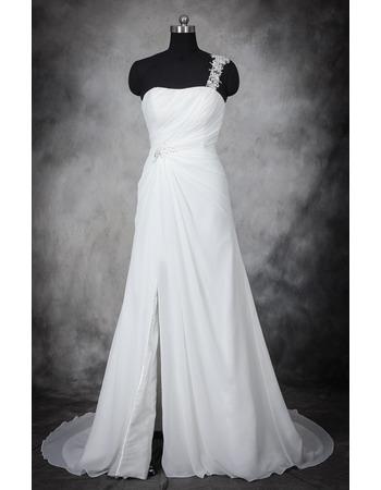 Custom One Shoulder Sleeveless Sweep Train Chiffon Wedding Dresses