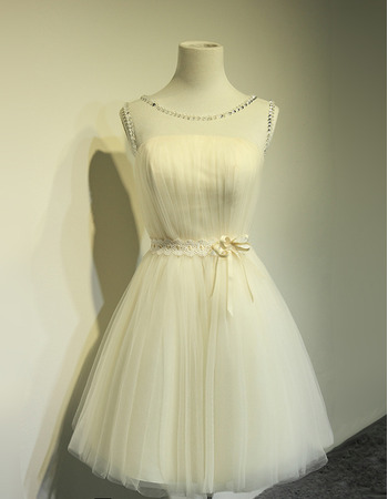 Custom A-Line Sleeveless Satin Tulle Lace-Up Short Wedding Dresses