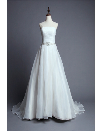 Inexpensive Strapless Court Train Organza Wedding Dresses/ Gowns