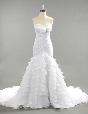 2018 Mermaid Sweetheart Chapel Train Layered Skirt Wedding Dresses