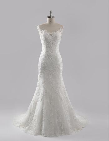 Custom Trumpet Court Train Chiffon Lace Wedding Dresses/ Gowns
