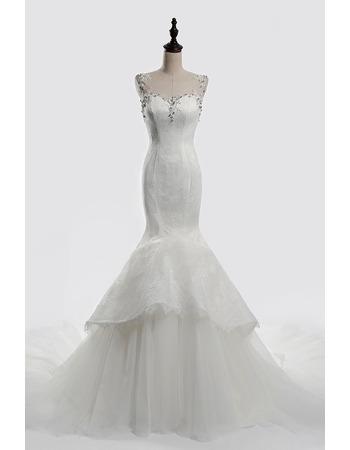 Affordable Trumpet Sweetheart Chapel Train Satin Wedding Dresses