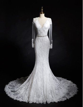 2018 New Style Sheath V-Neck Lace Wedding Dresses with Long Sleeves8