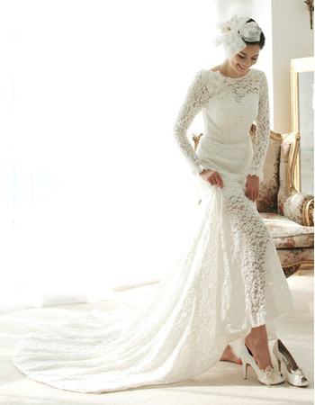 2018 New Style Court Train Lace Wedding Dresses with Long Sleeves8