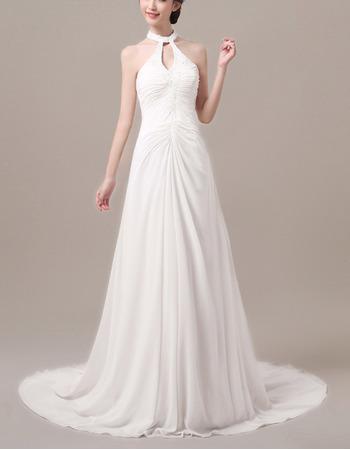 Custom Sheath Halter Sleeveless Sweep Train Chiffon Wedding Dresses