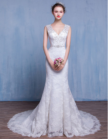 Discount Sheath V-Neck Court Train Lace Wedding Dresses/ Gowns