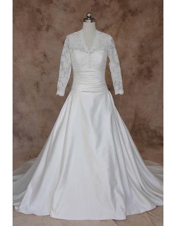 Vintage A-Line V-Neck Taffeta Wedding Dresses with Long Lace Sleeves