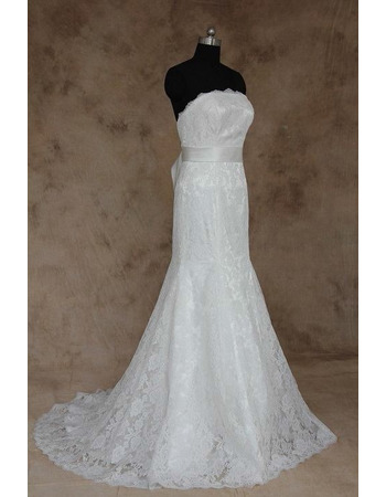 2018 New Style Sheath Strapless Long Lace Wedding Dresses with Belts8