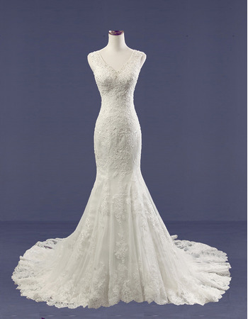 Custom Sheath V-Neck Sleeveless Court Train Tulle Satin Wedding Dresses