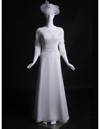 Vintage Sweep Train Satin Wedding Dresses with 3/4 Long Sleeves