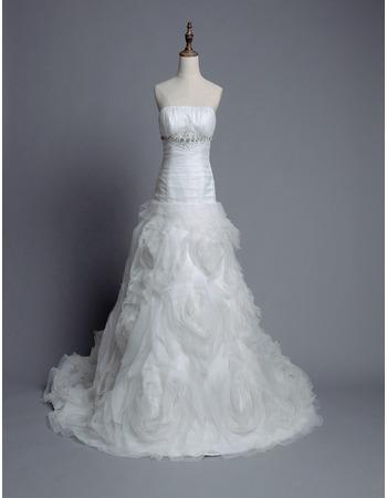 Elegant Strapless Chapel Train Floral Skirt Wedding Dresses/ Gowns