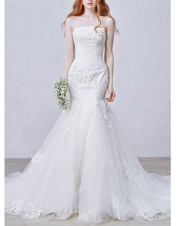 Affordable Trumpet Strapless Chapel Train Applique Wedding Dresses