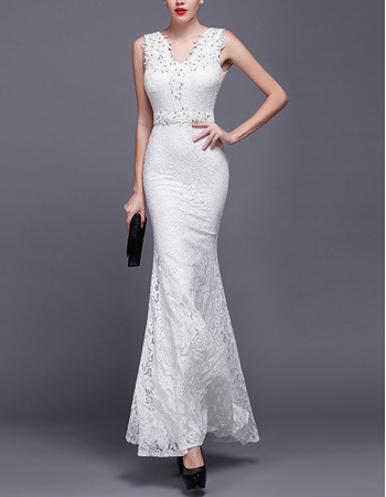 Sexy Sheath V-Neck Sleeveless Floor Length Lace Wedding Dresses