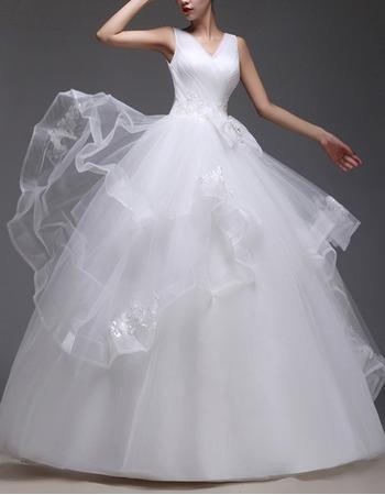 Custom Ball Gown V-Neck Floor Length Satin Organza Wedding Dresses