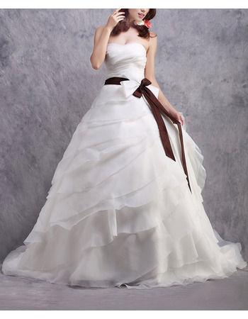 Custom A-Line Long Organza Layered Skirt Wedding Dresses with Belts