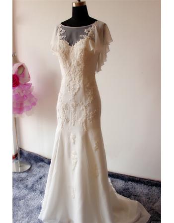 Elegant Sheath Cap Sleeves Sweep Train Chiffon Applique Wedding Dresses