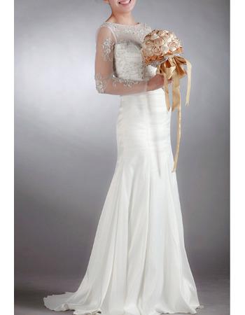 2018 Style Sheath Chiffon Wedding Dresses with Long Sheer Sleeves