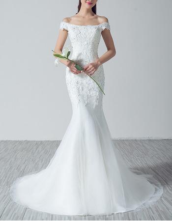 Sexy Sheath Off-the-shoulder Sweep Train Applique Wedding Dresses